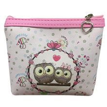 Women small Cute Owl font b Wallet b font Credit Card Holder Short PU leather Coin