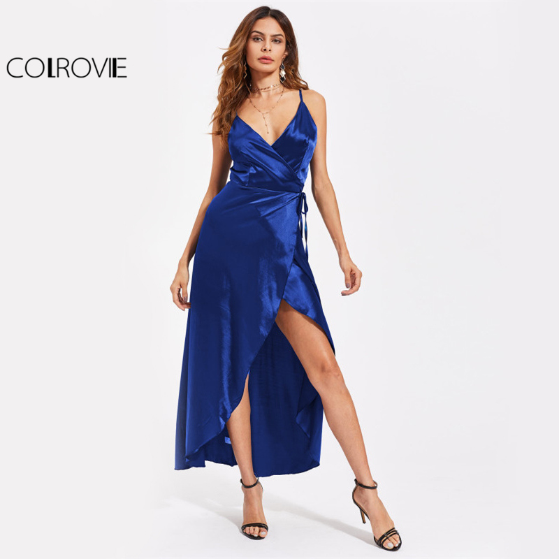 COLROVIE Royal Blue Satin Wrap Maxi Dress 2017 Women V Neck Sexy Overlap Summer Party Dresses Fashion Hi-Lo A Line Slip Dress