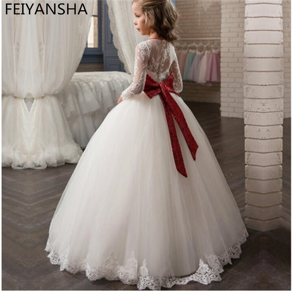 White Lace First Communion   Dress   For   Girls   with Red Bow Tulle Long Sleeve   Flower     Girl     Dresses   Pageant Gown Custom Made