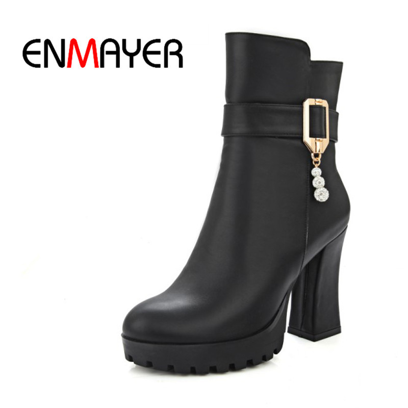 ENMAYER 2018 Spring New Fashion Woman Boots Black Buckle Soft Plush Ankle Shoes Female High Quality Square Heel Ladies Zip Shoes