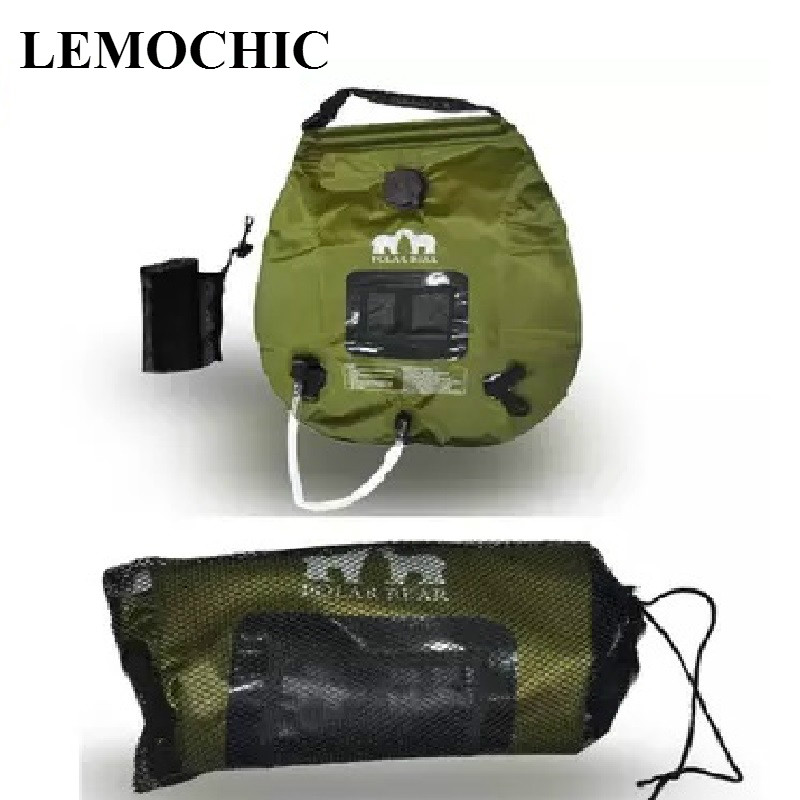 Hot !  20L outdoor camping hiking driving tour self solar heating with Thermometer High quality Folding Shower Hot Water Bag