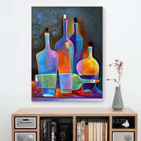 2015 New Design High Quality Hand Painted Abstract Wall Decoration Modern Handmade Bottle Oil Painting On