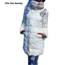 winter jacket women fashion slim 1950s 60s medium-long coat parka female diamond outerwear  down cotton-padded jackets  coat