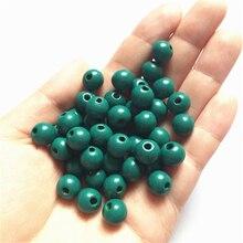 Натуральный 10 мм деревянные бусины круглый шар Свободные Spacer Бусины для самостоятельного изготовления ювелирных украшений Цепочки и ожерелья для изготовления аксессуаров 100 шт./компл. темно-зеленый