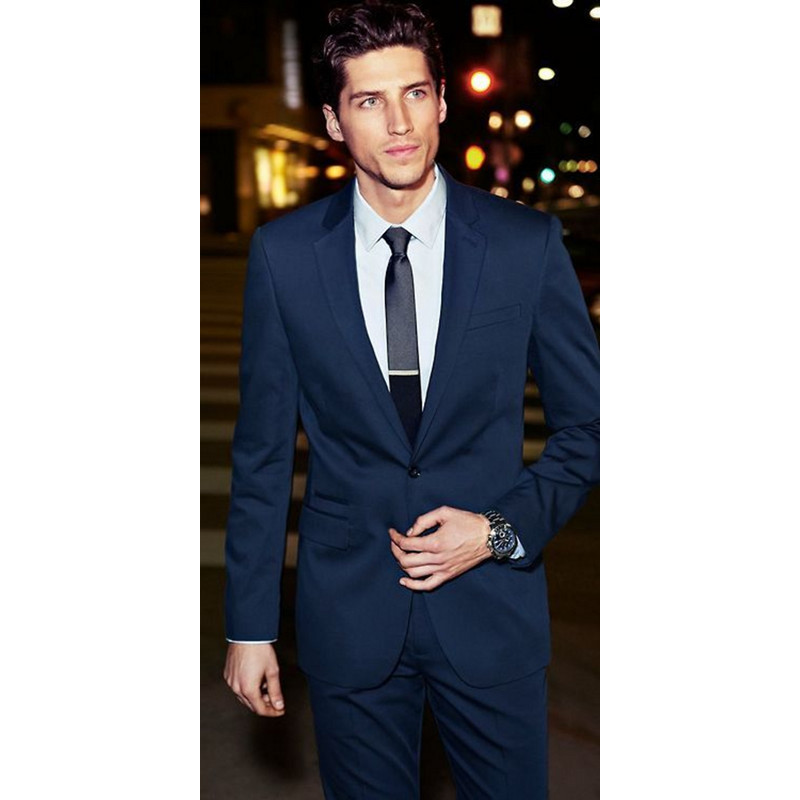 Hot Navy 2 Slim fit groom tuxedo best mens business suite man best man wedding dress (ja ...
