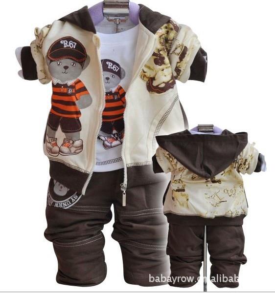 Wholesale boy girl cartoon suits (bear shirt + pants + coat) in stock, freeshipping cartoon boy girl design resin desktop decoration