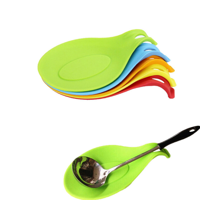 Kitchen Spoon Rest Big Island Random Color Silicone Heat Resistant Utensil Spatula Holder Cooking Tool