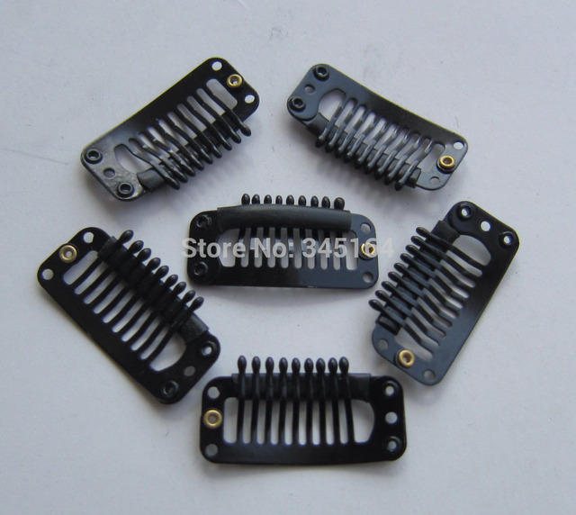 100pcslot 9teeth Snap Clip For Hair Extension Wig Weft Black Hair