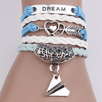 Cheap Fashion Jewelry with Silver Plated An Arrow Through the Heart Charm Leather Braided Bracelet Bangles for Unisex
