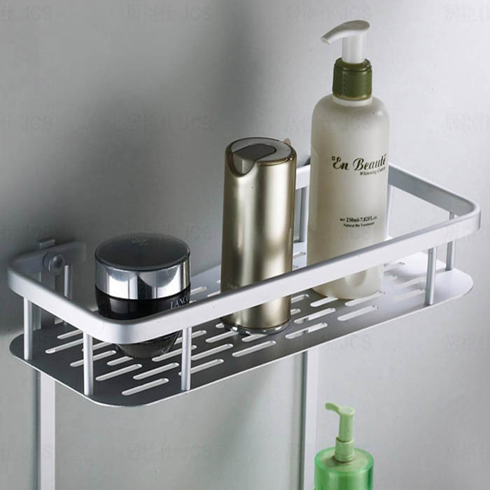 Free Shipping Two Layer Bathroom Rack Space Aluminum Towel Washing Shower Basket Bar Shelf