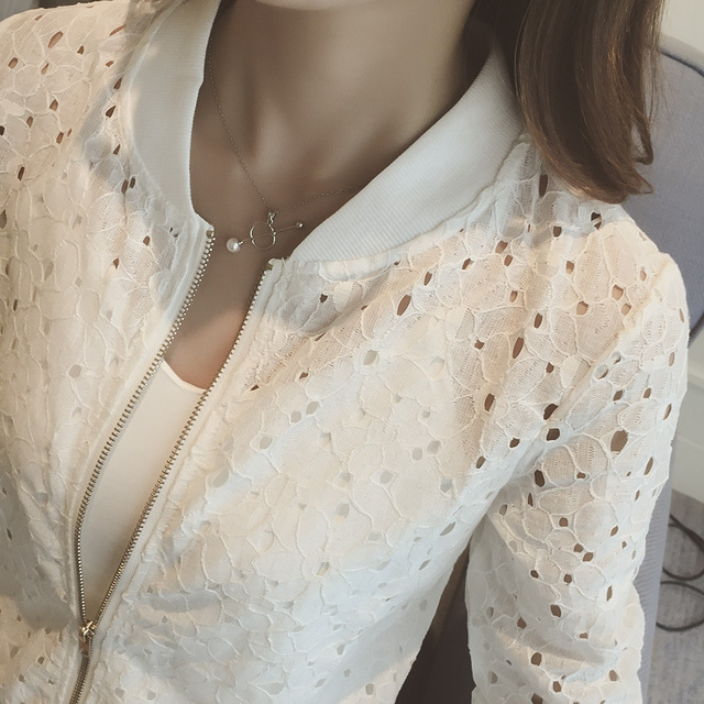 Fashion Hot 2021 New Women Casual Basic Autumn Spring Style Lace Chiffon Jacket Top Zipper Coat Full Sleeve Blusas Hollow out 3