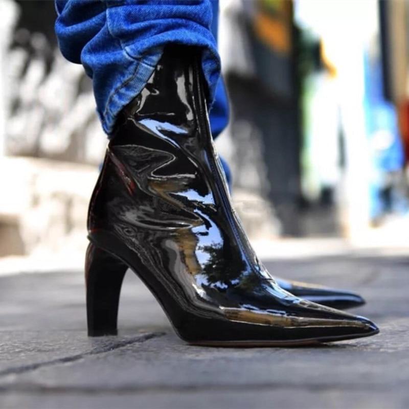 Cheville Métallique Pointu Femmes Chaussons Cuir Style Rue En Mode Dames Côté Show Orteil Show Zip As Verni Pompes as Bottes Talons Hauts Couteau Xgw8zX0Sxn