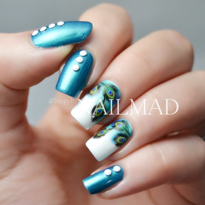 Aliexpress Buy 1 Sheet Colorful Feather Nail Water