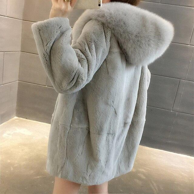 2019 New Natural Rex Rabbit Fur Coats Women Oversize Hooded Winter Real Fur Jackets Plus Size