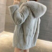 2019 Nova Oversize Natural Rex Rabbit Fur Coats Mulheres Casacos de Inverno Com Capuz De Pele Real Plus Size