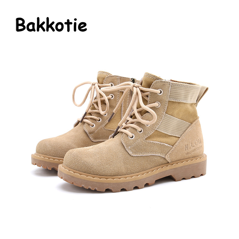 Bakkotie 2017 Autumn Baby Girl Fashion Canvas Shoe Children Boy Martin Boots Ankle Army Green Kid Brand Toddler Soft Sand Color bakkotie 2017 new autumn baby boy casual shoes khaki genuine leather black kid girl brand flat shoes soft sole breathable child