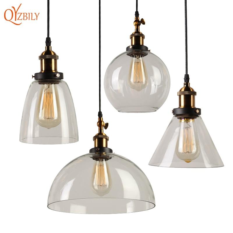 <font><b>Pendant</b></font> Lights Glass Lamp Luminaire <font><b>Pendant</b></font> Lamp Glass Lampshade Hanglamp Light Fixtures Loft Vntage Industrial Abajur Lustres