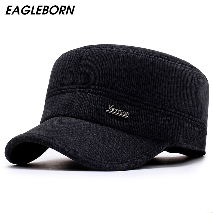 EAGLEBORN 2017 New Winter Hats for Men Military Cap with Ear Flaps Army Sailor Captain Caps Dad Hat