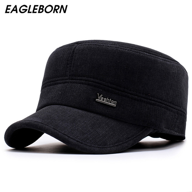 EAGLEBORN 2019 New Winter Hats for Men Military Cap with Ear Flaps Army Sailor Captain Caps Dad Hat