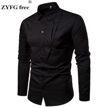 ZYFG free men for shirt pleated cotton polyester blend long sleeve shirts simple casual style tops male