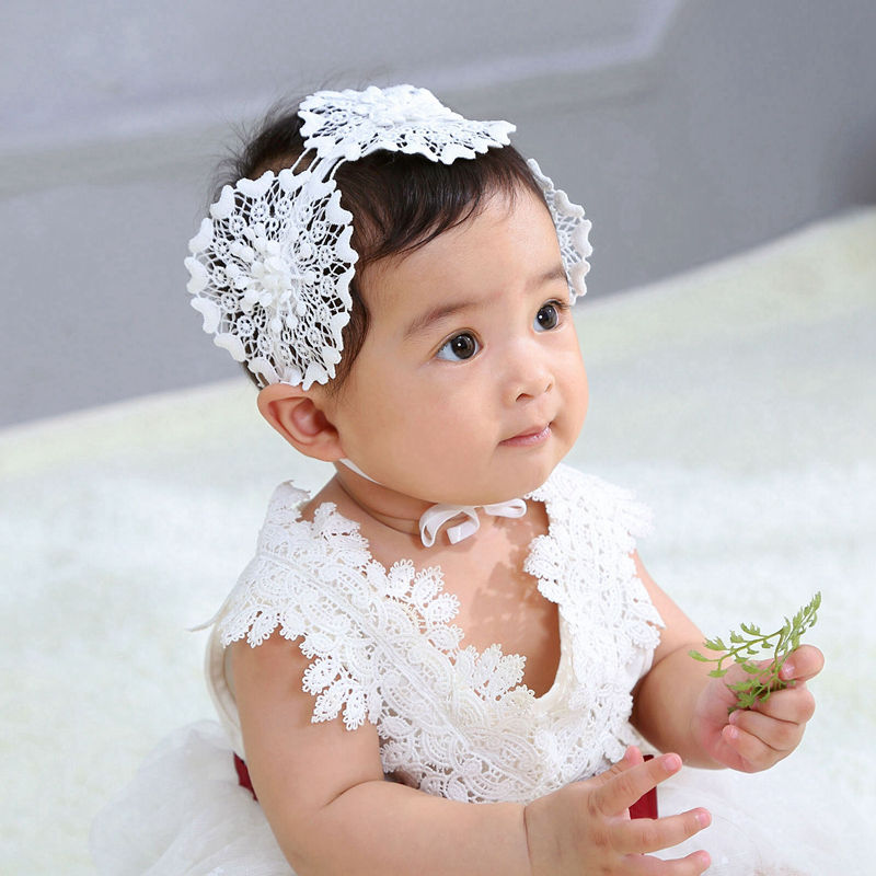 Girl Baby Shower Kids Christening Party pure White Lace Crown Hair Headband PROP