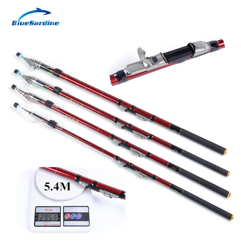 Bluesardine fishing rod carbon telescopic spinning rods for Red fishing rod