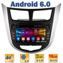 7″ Quad Core 2GB RAM 4G LTE SIM WIFI Android 6.0 Car DVD Player Radio Stereo For Hyundai Solaris Accent Verna I25 2011-2014 DAB+