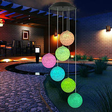 Novelty Funny Solar Toys Solar Powered Wind Chime Light LED Garden Hanging Spinner Lamp Color Changing(China)