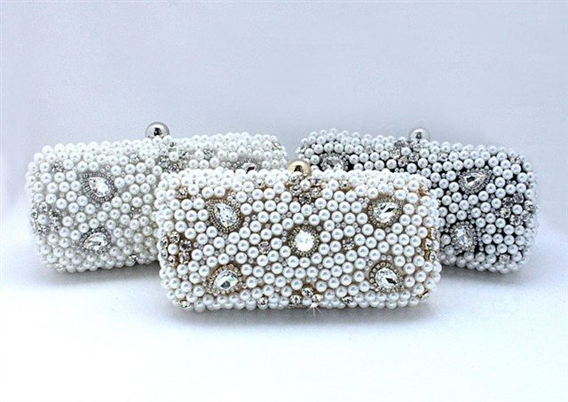 Free Shipping BEA093 Hollywood Style Pearl & Rhinestone Hard Case Party handbag Wedding Clutch Ladies Metallic Evening Purse
