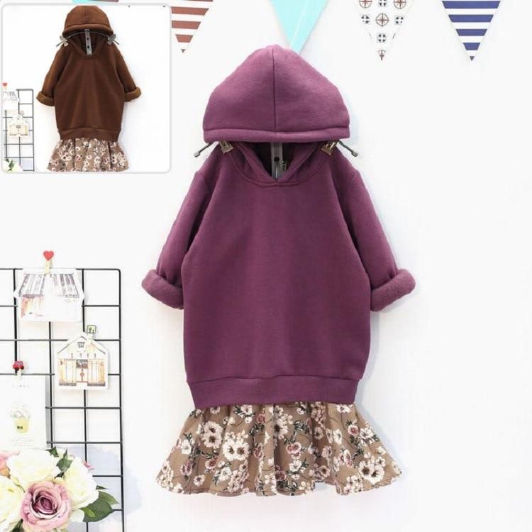 Baby Girl Hoodies Sweater Dress Sweatshirts Kids Girls Winter Hooded Patchwork Dresses Floral Dress Sport Clothes