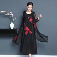 Flowing Silk Summer Plus Size Dress for Big Women Elegant Vintage Chinese Party Dresses cardigan Black Floral Print Clothing