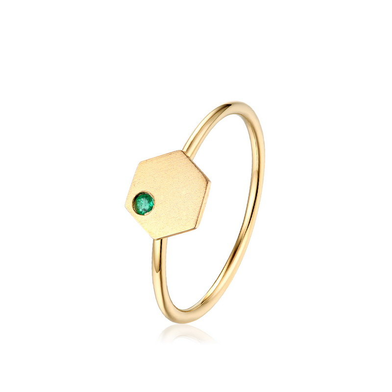 JXXGS New Designs Gold Color Luxury Natural Emerald Ring 14k Gold Hexagon Ring For Women
