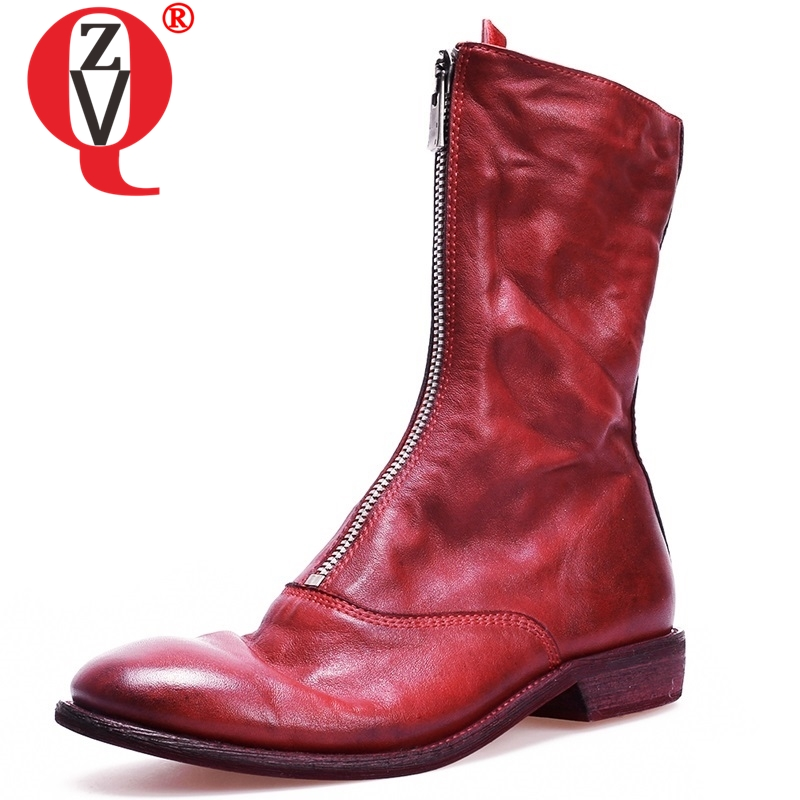ZVQ new Spring soft leather round low square heel front zip winter warm black and red mid calf boots Retro punk women shoesZVQ new Spring soft leather round low square heel front zip winter warm black and red mid calf boots Retro punk women shoes