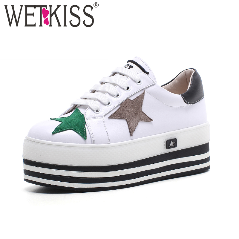WETKISS 2018 Spring Genuine Leather Women Flats Round Toe Wedges Lace Up Footwear Fashion Casual Girl Platform Sneakers Shoes tfsland men women genuine leather loafers students white shoes unisex spring round toe lace up breathable walking shoes sneakers
