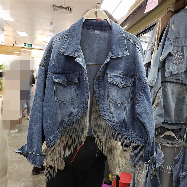 New Spring Autumn Fringed Chain Jeans Jacket Short Jackets Women Korean Fashion Loose Coat Girl Students Streetwear Overcoat