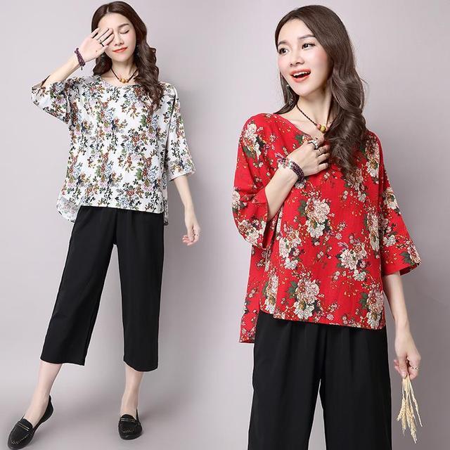 Novo 2017 Outono Senhoras Do Vintage de Linho de Algodão T-shirt da Cópia Floral Bawing Manga Da Camisa T Mulheres T-shirt Tops de Tee Plus Size Z97