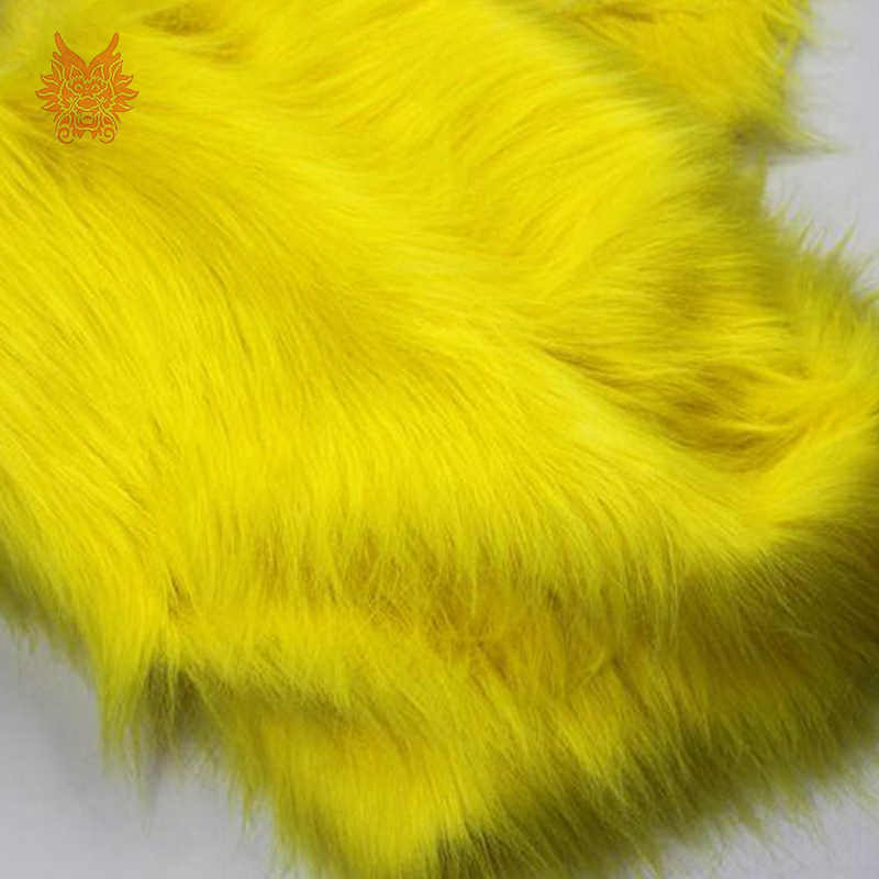 Высокое качество 7 см длинные волосы желтый ткань искусственный мех для зимнего пальто, жилет, косплей украшение сцены Бесплатная доставка 150*50 см 1 шт. SP2575