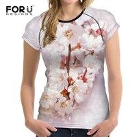 FORUDESIGNS Plus Size Women Flower Tshirt Beautiful Short Sleeve For Femme Ladies Casual Women Summer T