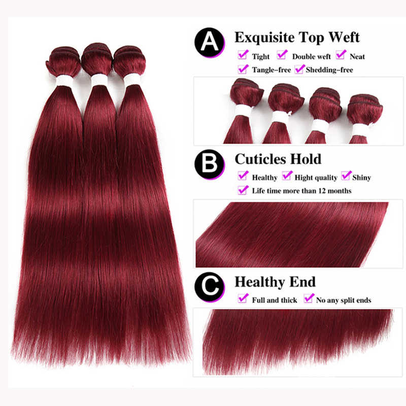 99J/бордовый человеческих волос пучки с закрытием 4*4 non-реми красного цвета бразильского прямо человеческих волос, плетение связки 3 шт Кеми волос