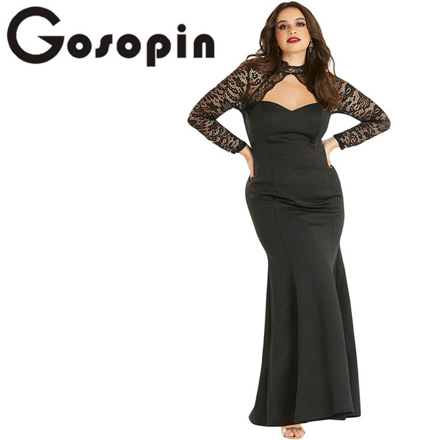 Gosopin Sheer Lace Plus Size Maxi Dress Women Elegant Lace Dress ...