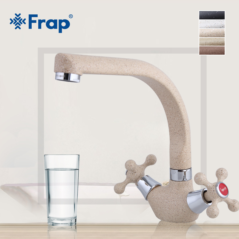 Image 3 - Frap NEW Multicolor Spray painting Kitchen sink Faucet Cold and Hot Water Mixer Tap Double Handle 360 Rotation F5408 7/8/10/21-in Kitchen Faucets from Home Improvement