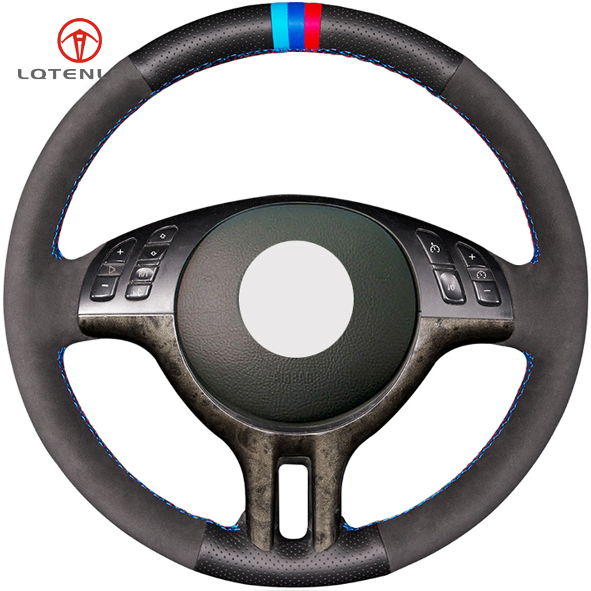 LQTENLEO Black Suede Genuine Leather DIY Hand stitched Car Steering Wheel Cover for BMW E39 E46