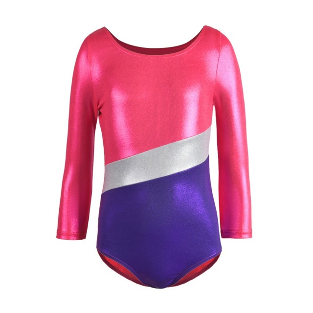 964bb27f040f Long Sleeve Striped Sparkle Athletic Gymnastics Costumes Bodysuits ...