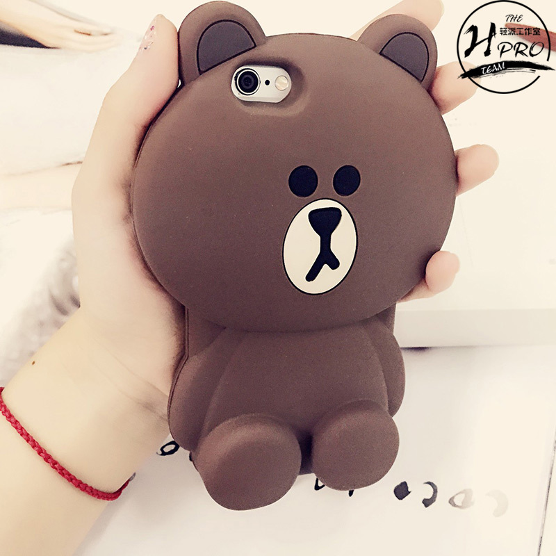 buy popular d3108 e237f US $7.47 |3D Cute Cartoon Line Brown Bear Soft TPU Silicone Rubber Case for  iPhone 5 5s 6 6 Plus Cell Phone Bags Cover on Aliexpress.com | Alibaba ...