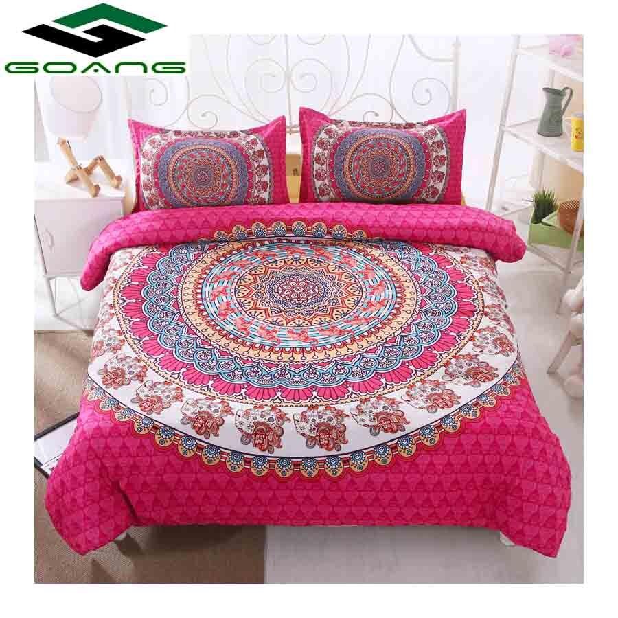 GOANG Bedding Set Bed Sheet Duvet Cover Pillow Case 3d Digital Printing Mandara Flowers Pink Bedding Set Luxury Home Textiles