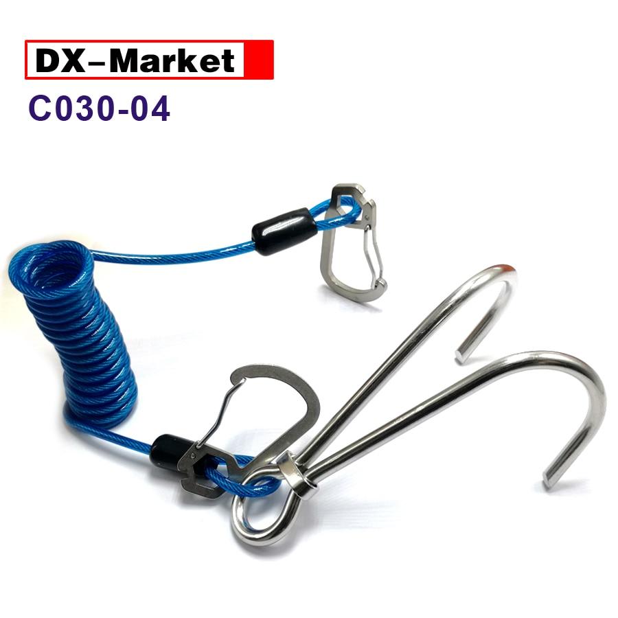 Frühling Draht Seil Titanium Legierung Snap Haken C030-03 Grade Produkte Nach QualitäT 316 Edelstahl Tauchen Doppel Riff Haken