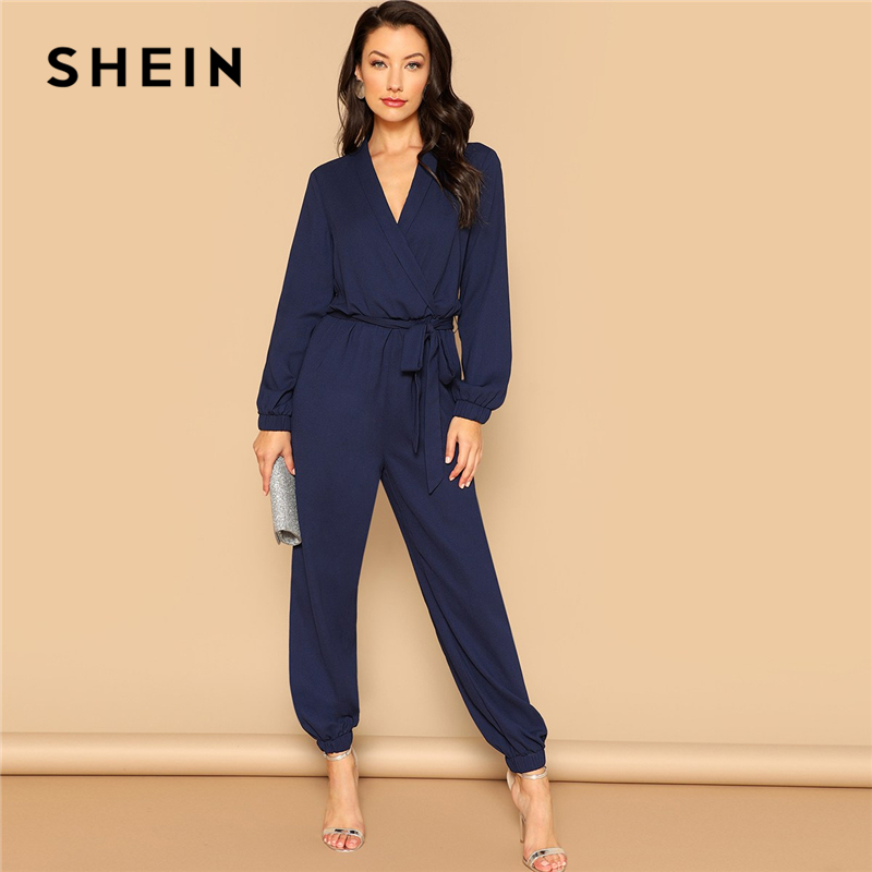 SHEIN Navy Plain Surplice Wrap Plunging Belted   Jumpsuit   2019 Women Spring Casual Deep V Neck Long Sleeve Elegant   Jumpsuit