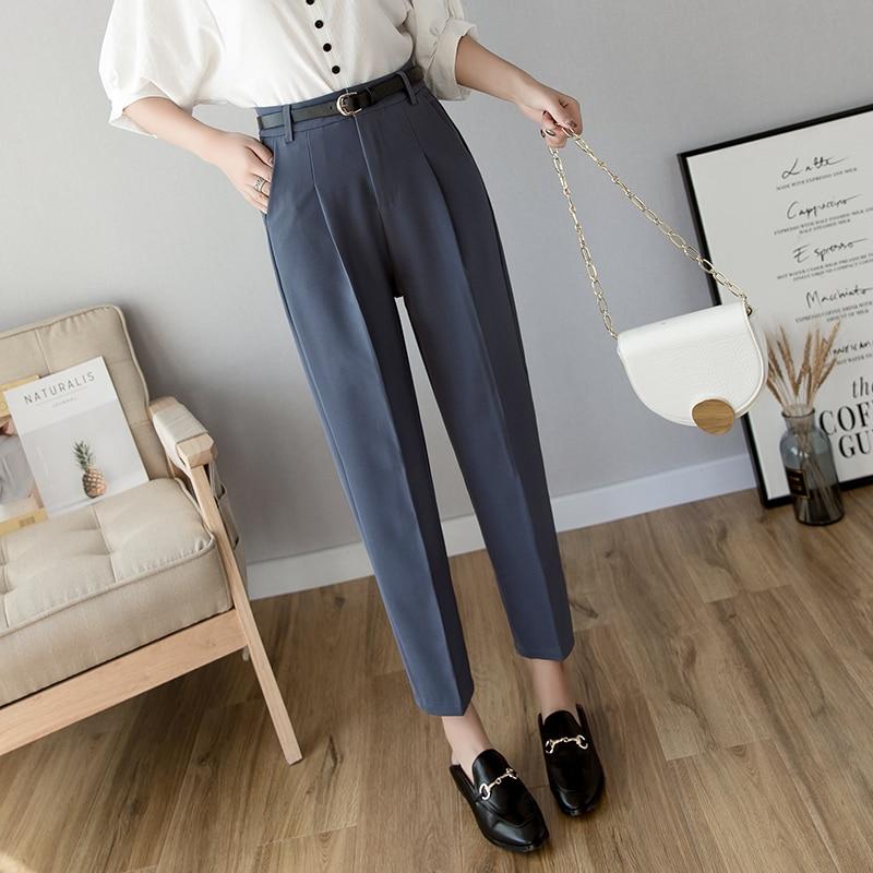 Spring Women Pencil Pants High Waist Ladies Office Trousers Formal Female Korean Slim Cigarette Pants Belted Pantalones Mujer
