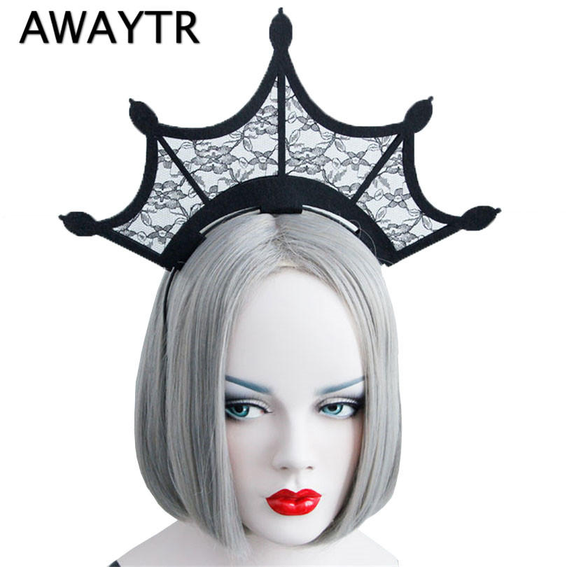 AWAYTR Halloween Black Lace Headbands Fashion Queen Girls Large Tiara Crown Hairbands Woman Cosplay Party Hair Accessories fashion hair queen 100