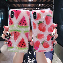 Diamond Crack TPU Case For iPhone XR 6 7 8 Plus Summer Fruit Pattern Cover For iPhone XMAX X XS Screen Protective Capa For Girls стоимость